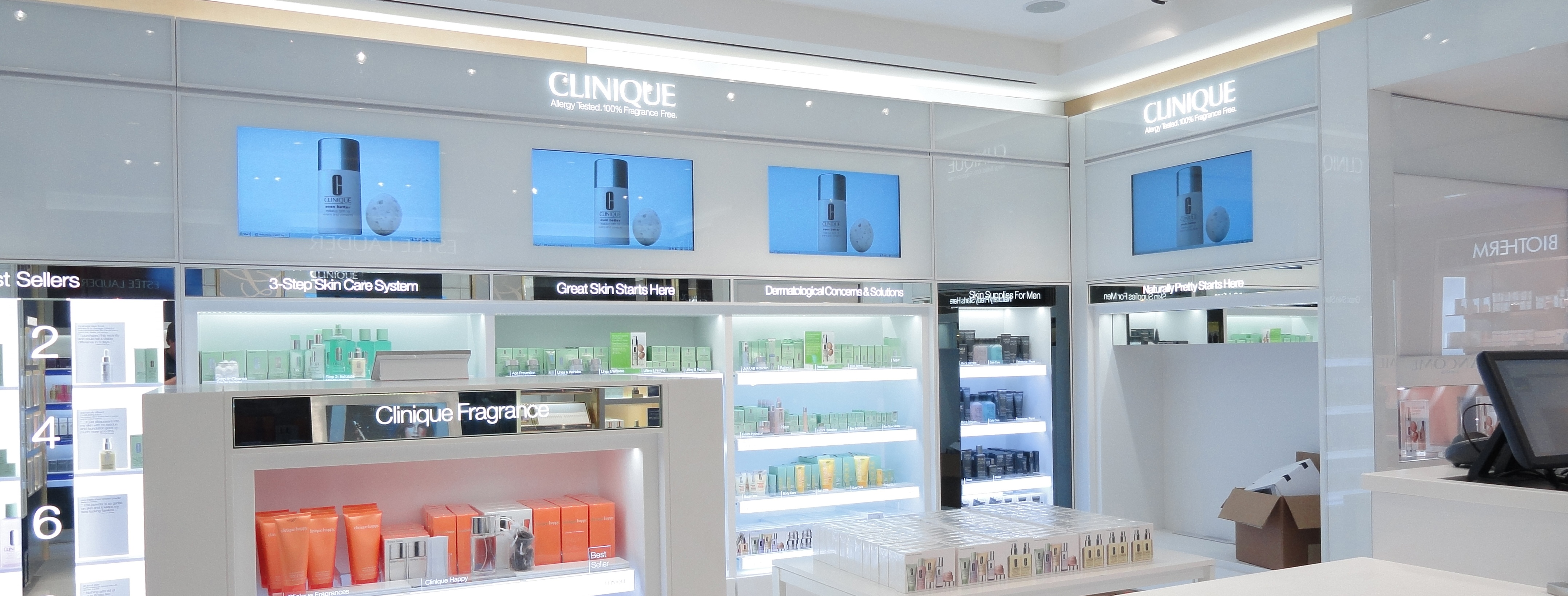 Make up store with digital display screens