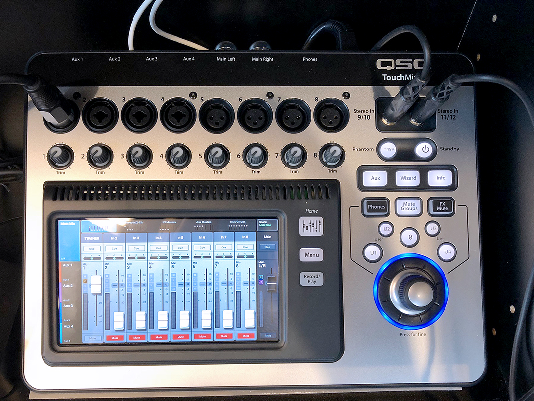 Picture of a gym audio mixer that promotion technology group uses