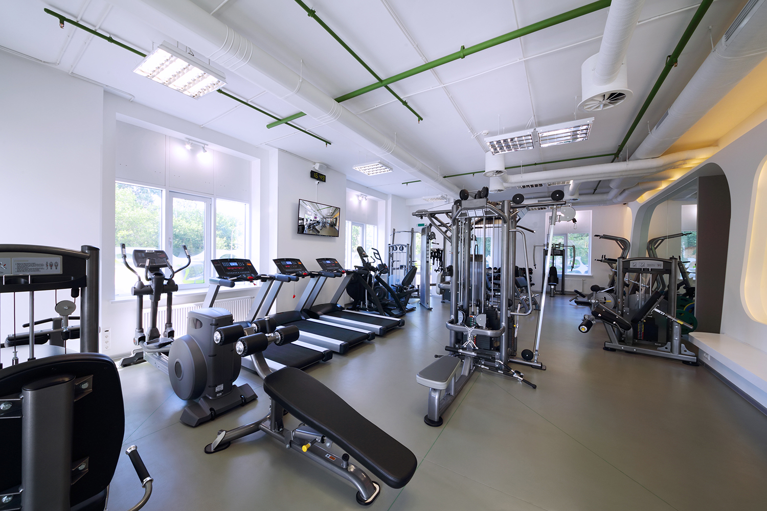 Gym interior with video screens