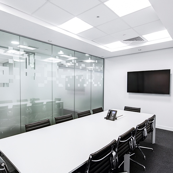 white and black board room