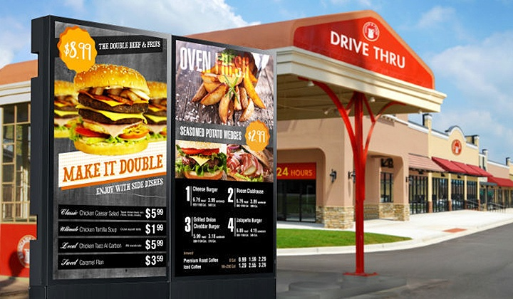 Outdoor digital menu board in a drive through